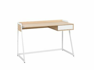 Modern Writing Computer Desk Home Office Study Drawer Wooden Finish White Quito
