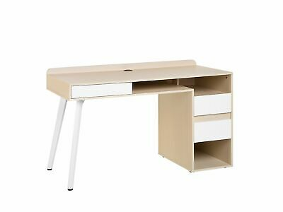 Modern Writing Computer Desk Home Office Study  3 Drawers Wooden Finish White Ca