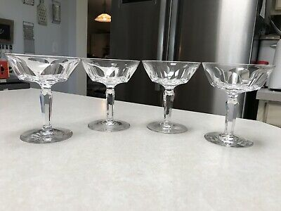 4 Waterford Crystal Champagne Glasses SHEILA 4-3/4""