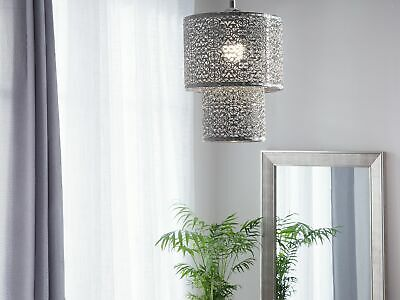 Modern Ceiling Light Pendant Lamp Silver Glossy Double Shade Metal OSUN