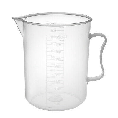 Laboratory Clear White PP Plastic 1000mL Graduated Measuring Cup Handled Beaker