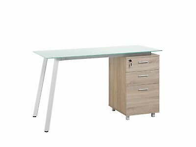 Modern Computer Desk Home Office Study Glass Top Wooden Finish Montevideo