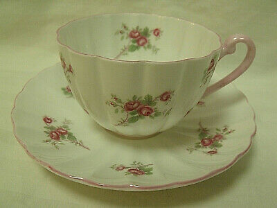 Vintage Shelley ~ Rose Spray ~ Tea Cup & Saucer Pink Roses / Trim Floral England