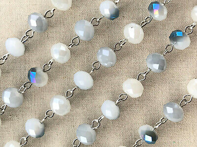 Blue White Cream Crystal Rondelle Beaded Rosary Silver Eyepin Chain 6x4mm 2ft