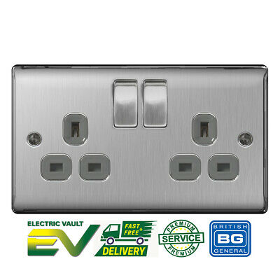 BG Nexus Double Socket Brushed Steel Satin Grey Insert NBS22G 2 Gang Slimline