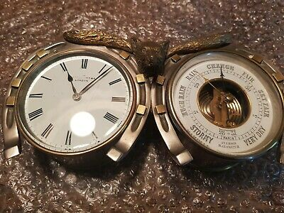 Rare Antique clock and barometer Mappin & Webb Desk Set horseshoe design