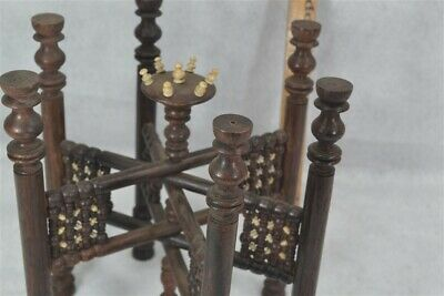 tray stand carved wood bovine bone folds table top Asian antique vg