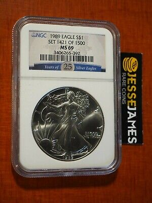 1989 $1 American Silver Eagle Ngc Ms69 '25 Years Of Silver Eagles' Blue Label