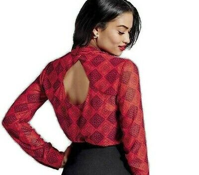 CABI Women's Red Sheer Diamond Print Cowl Neck Blouse Style #3125 NWOT msrp $89