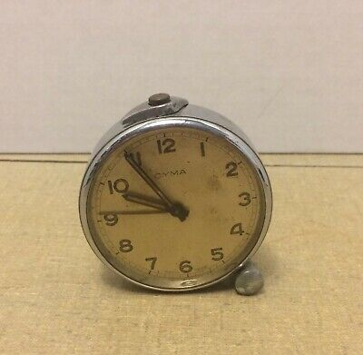 Vintage Travel Alarm Clock CYMA Swiss Made  ****AS IS*** FOR PARTS OR RESTORE