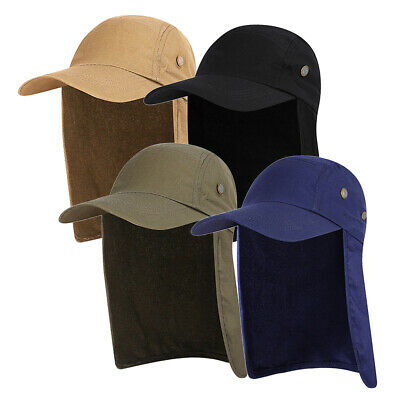 Unisex UV Sun Protection Cap Wide Brim Bucket Fishing Hat With Neck Flap Hats UK