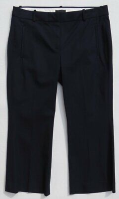 $89 J CREW Women's Navy Blue Stretch TEDDIE Cropped Career Pants size 12 MINT