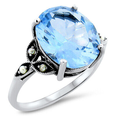 Victorian Antique Design 5 Ct. Sim. Blue Topaz .925 Silver Ring Size 7,    #26