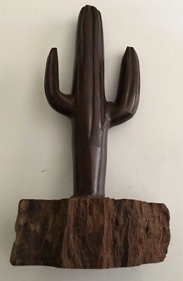 "(10.5 X 6"") Ironwood Cactus Hand-Carved by Sonoran Artist Solid Wood (New)"