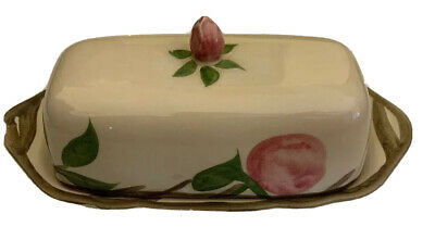 Antique Franciscan Desert Rose Butter Dish England Expensive Stamp 8.5 X 3.5""