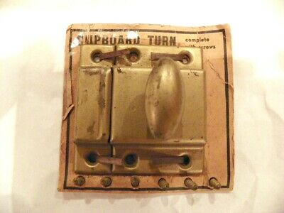 NOS Vtg CUPBOARD TURN Brass Tone Shelby Cabinet Door Latch Lock Handle w/Screws