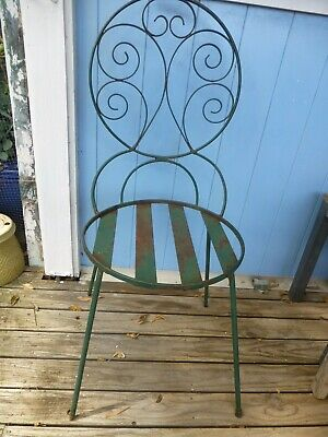vintage outdoor wrought iron Chair french provincial garden seat heavy quality