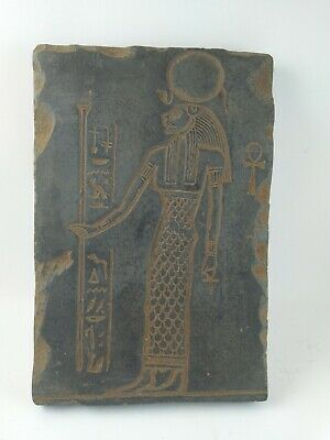 RARE ANTIQUE ANCIENT EGYPTIAN Stela Goddess Sekhmet God War Stone 1850 Bc