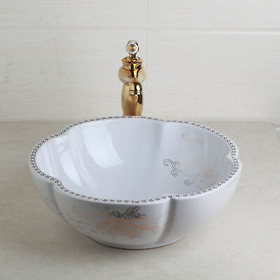 Pattern Ceramics Handle Golden Bathroom Faucet With Round Wavy Ceramic Sinks