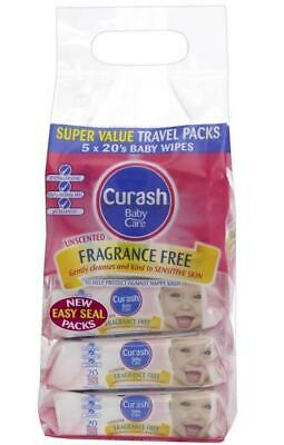 Curash Babycare Fragrance Free Wipes 20 X 5 Packs