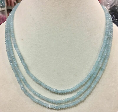 3 rows 4x6mm Faceted Light blue Aquamarine Gems Rondelle Beads Necklace 17-19''