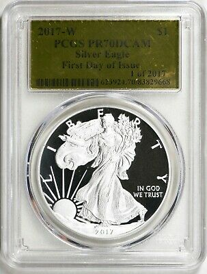 2017-W American Silver Eagle - Pcgs Pr70Dcam - Gold Foil Label, Perfect
