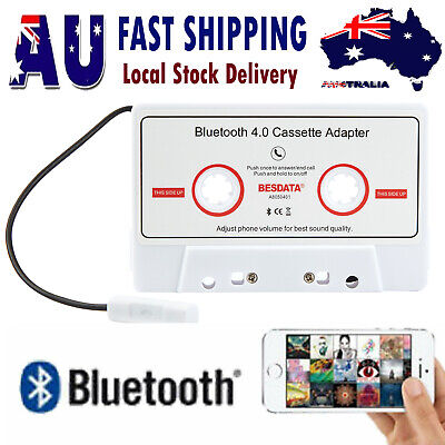 Bluetooth 4.0 Car Audio Cassette Tape Adapter for iPod MP3 iPhone Android White
