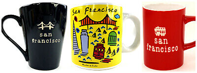 Lot of 3 San Francisco Coffee Mugs Cups Vacation Souvenirs Very Good Condition