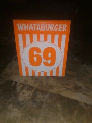 Whataburger 69 Table Tent Number Rare Authentic From Texas