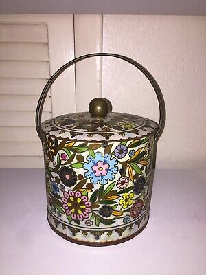 Vintage Daher Multi-Color Floral Tin Container with Lid Made in England Flowers
