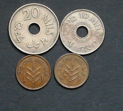 Palestine Coins, 1933, group of 4 coins, from 1927...1939, F/VF