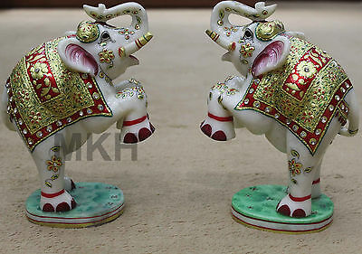 Christmas Sale 2 pieces gold painting handmade elephants marble statue carving