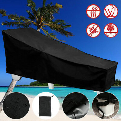 Black Waterproof Sunbed/Sun Lounger Garden Furniture Cover Patio Rattan Bed NEW