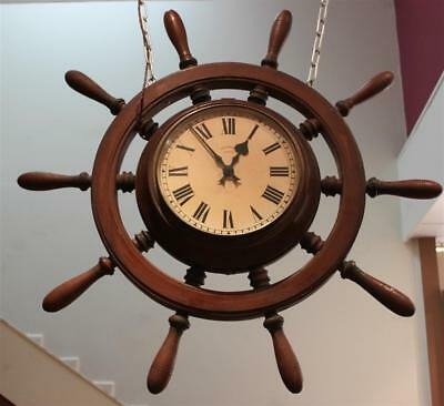 Rare Antique Synchronome Double Sided Dial Electric Ships Wheel Clock Made 1906