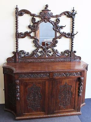 Rare Antique Blackforest Oak Sideboard With Table Leaf Holder To Rear Circa 1860