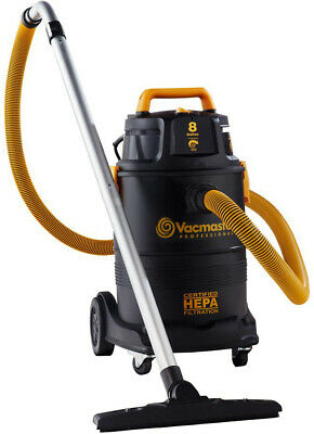 VACMASTER 8 Gal. HEPA Wet/Dry Vacuum Industrial with 2-Stage Motor and Casters