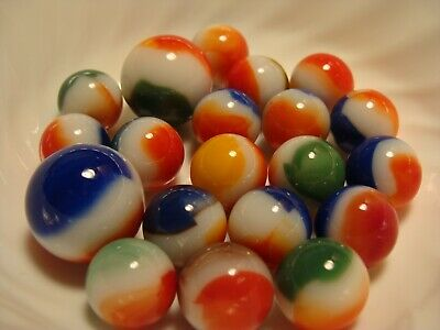 20 Vintage Marbles Vitro Agate All Reds Awesome Shooters Blue Yellow Red Pretty