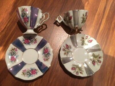 Asian old vintage Japanese pearl coffee set (2 cups +2 saucers) hand painted