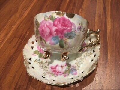 Antique Asian old vintage pretty Japanese pearl tea set (cup+sauser).