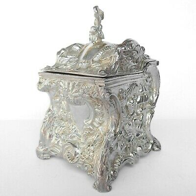 Repousse Tea Caddy Silverplated High Relief Box Hinged Lid