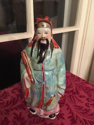 """Vintage Chinese Porcelain Figurine of Scholar 8 1/4"""" Tall hand Painted"""