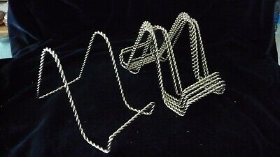 #618 vtg Display Easel Plate Stand LOT of 8 Silver tone Twisted Wire Metal