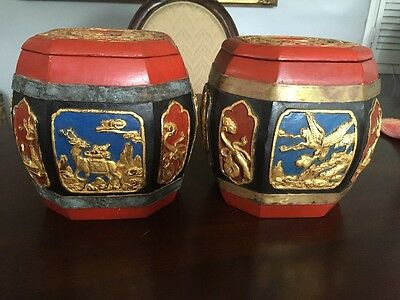 Two vintage chinese carved wood box with gold gilt---Octagon shape