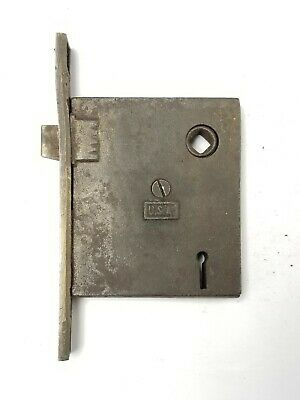 "B98 Antique Working Doorknob Mortise Lock 5 5/8"" plate 3 1/2"" x 3"" x 5/8"" body"