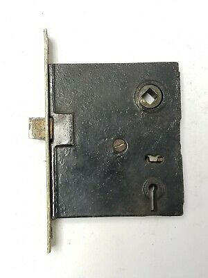 """B100 Antique Working Mortise Lock 5 1/4"""" plate 3 11/16"""" x 3 1/8"""" x 5/8"""" body"""