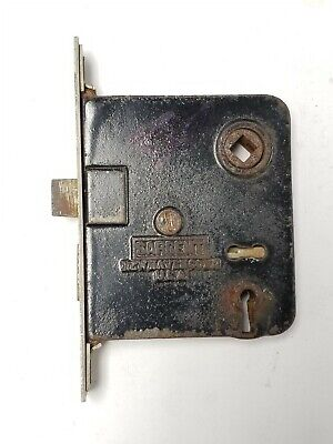 "B106 Antique Working Mortise Lock 5 1/4"" plate 3 9/16"" x 3 1/8"" x 5/8 "" body"