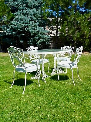 Mid Century Vintage O.W. LEE Patio Set White Wrought Iron Table & 4 Chairs MINT!