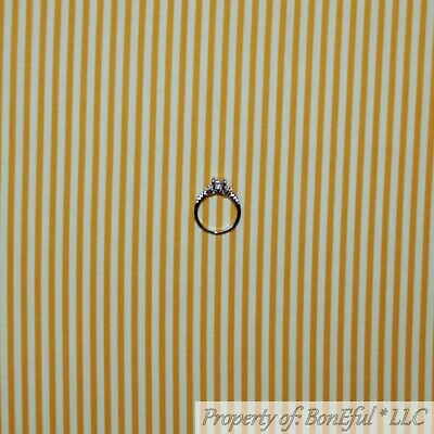 BonEful Fabric FQ Cotton Quilt Yellow Gold Tone Tonal Small Clown Stripe Baby US