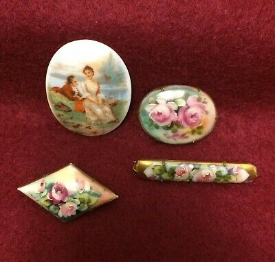 4 Antique Hand Painted Porcelain Scenic & Floral Pin Brooch Bar Oval & Diamond