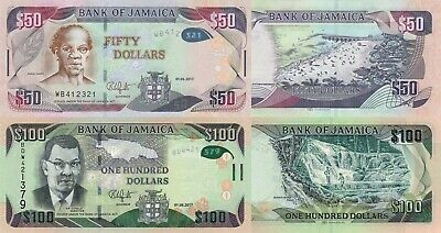 Jamaica 2 Note Set: 50 and 100 Dollars (01.06.2017) - pNew/p95d Polymer UNC